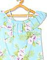 The Children's Place Blue Girls Ruffled Off Shoulder Top