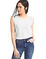GAP Women White Vintage Wash Raglan Cap Sleeve Tee