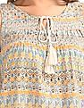 Bronz Smocked Yoke Printed Top
