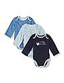 The Children's Place Baby Blue Long Sleeve Bodysuit 3-Pack