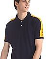 Colt Blue Slim Fit Colour Block Polo Shirt