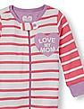 The Children's Place Baby And Toddler Girl Long Sleeve 'Love My Mom' Heart Graphic Striped Stretchie