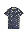 FM Boys Boys Short Sleeve Dinosaur Print Polo Shirt