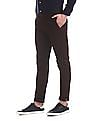 Arrow Sports Red Slim Fit Flat Front Trousers